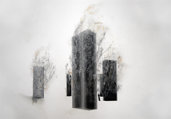 A chalk and ink drawing of Steam Towers
